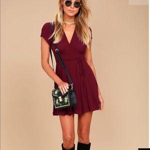 Lulu's wine burgundy wrap dress NWT